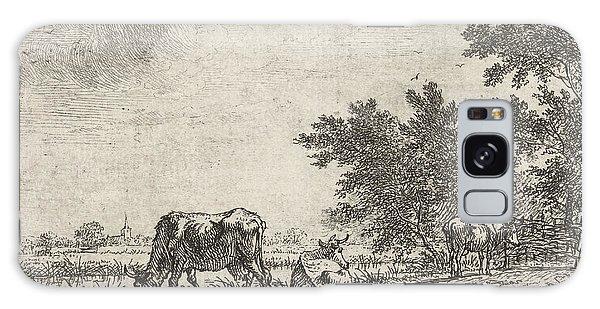 Pasture Galaxy Case - Three Cows In Pasture, Johannes Janson by Johannes Janson