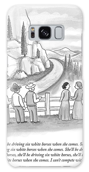 Three Frontiersmen And Two Women Watch A Mountain Galaxy Case