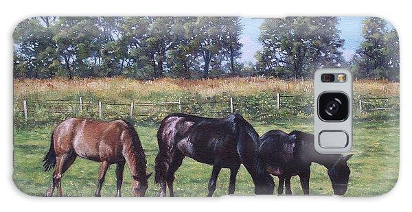 Three Horses In Field Galaxy Case