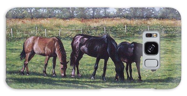 Three Horses In Field Galaxy Case by Martin Davey