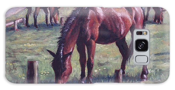 Three New Forest Horses On Grass Galaxy Case
