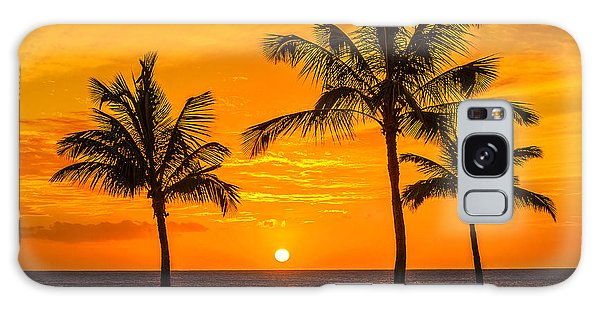 Three Palms Golden Sunset In Hawaii Galaxy Case