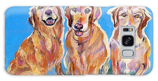 Three Playful Goldens Galaxy Case by Julie Maas