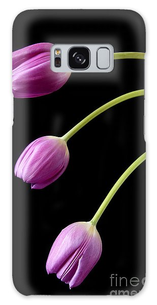 Three Purple Tulips Galaxy Case by Eden Baed