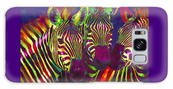 Three Rainbow Zebras Galaxy Case by Jane Schnetlage