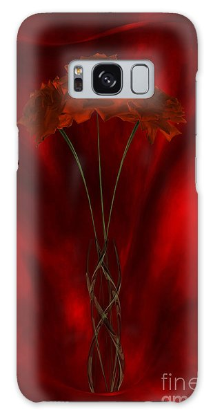 Three Red Roses In The Red Room Galaxy Case