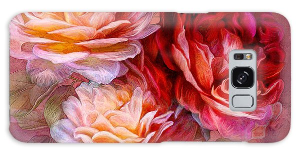 Galaxy Case featuring the mixed media Three Roses - Red by Carol Cavalaris
