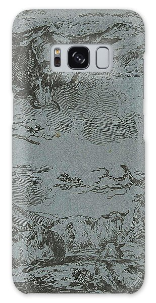 Pasture Galaxy Case - Three Sheep And A Cow, Jan Bulthuis by Jan Bulthuis