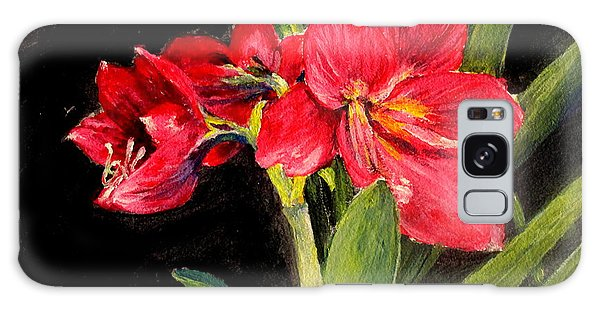Three Stalks Of Lilies Blooming Galaxy Case by Jason Sentuf