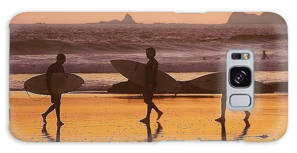 Three Surfers At Sunset Galaxy Case