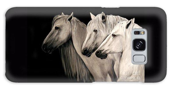 Three White Horses Galaxy Case by Nancy Bradley