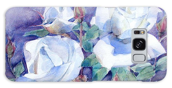White Roses With Red Buds On Blue Field Galaxy Case