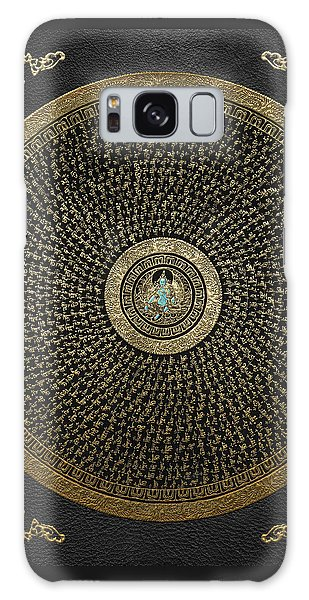 Tibetan Thangka - Green Tara Goddess Mandala With Mantra In Gold On Black Galaxy Case