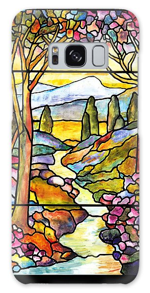 Tiffany Landscape Window Galaxy Case by Donna Walsh