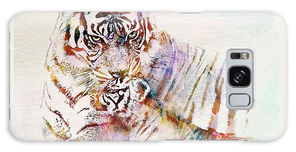 Tiger With Cub Watercolor Galaxy Case by Marian Voicu