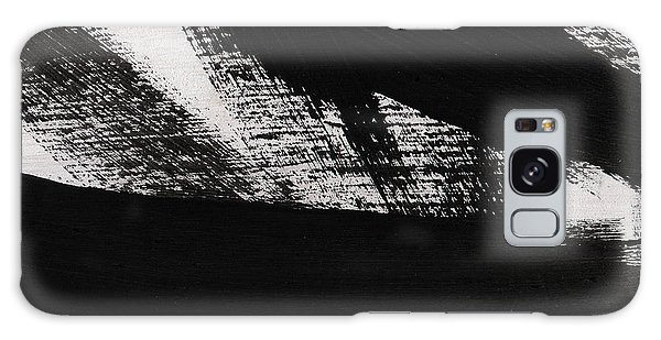 Black And White Art Galaxy Case - Timber 2- Horizontal Abstract Black And White Painting by Linda Woods