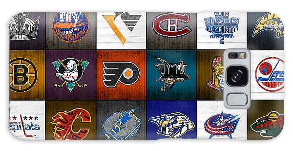 Time To Lace Up The Skates Recycled Vintage Hockey League Team Logos License Plate Art Galaxy Case