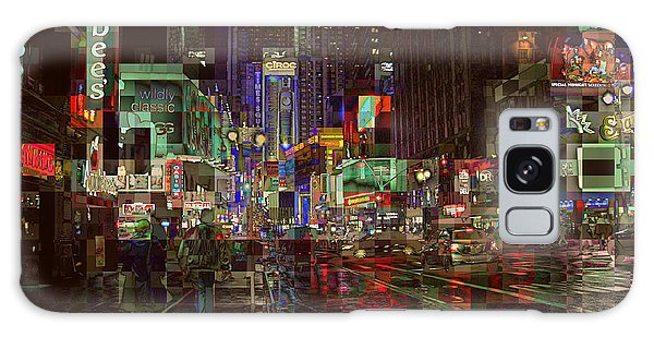 Times Square At Night - After The Rain Galaxy Case by Miriam Danar