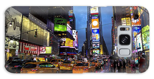 New York City Taxi Galaxy Case - Times Square In The Rain by Garry Gay