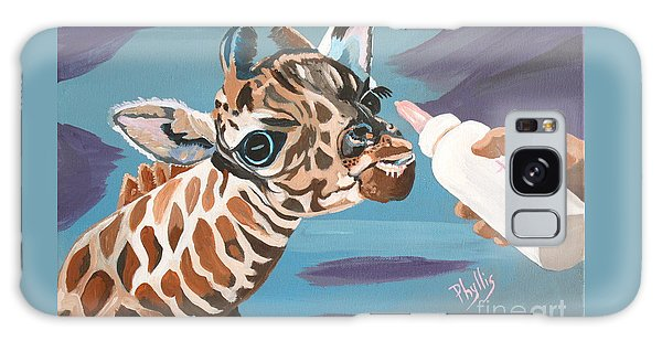 Tiny Baby Giraffe With Bottle Galaxy Case