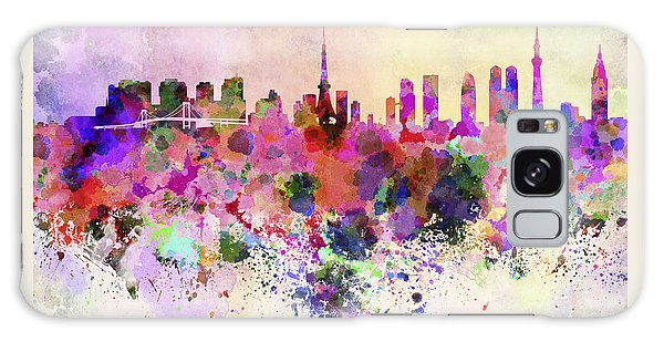 Tokyo Skyline In Watercolor Background Galaxy Case by Pablo Romero