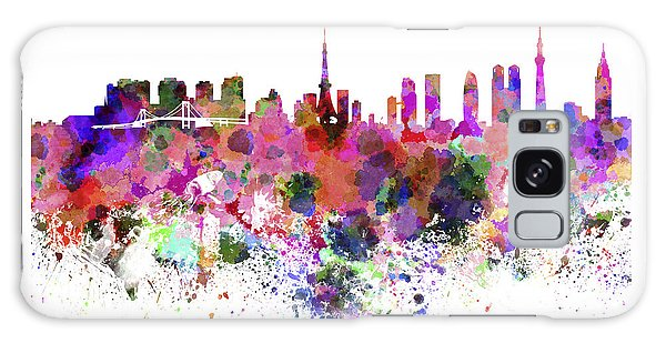 Tokyo Skyline In Watercolor On White Background Galaxy Case by Pablo Romero
