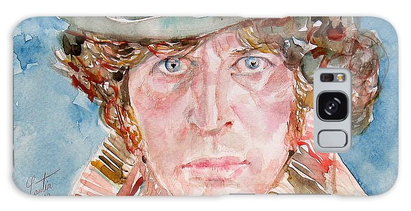 Tom Baker Doctor Who Watercolor Portrait Galaxy Case by Fabrizio Cassetta
