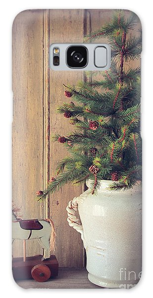 Toy Horse With Christmas Tree On Table Galaxy Case