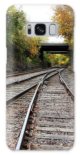 Train Tracks And Bridge In Autumn Galaxy Case by Ellen Tully