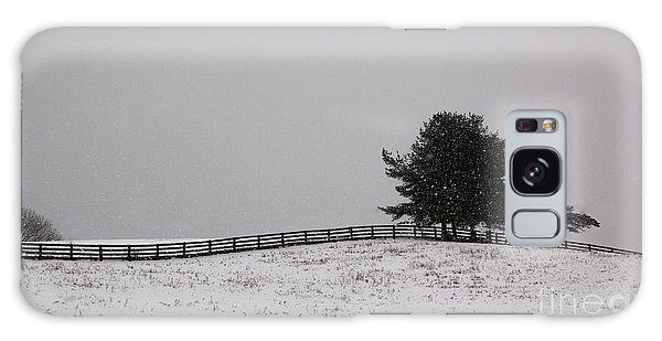 Tree And Fence In Snow Storm Galaxy Case