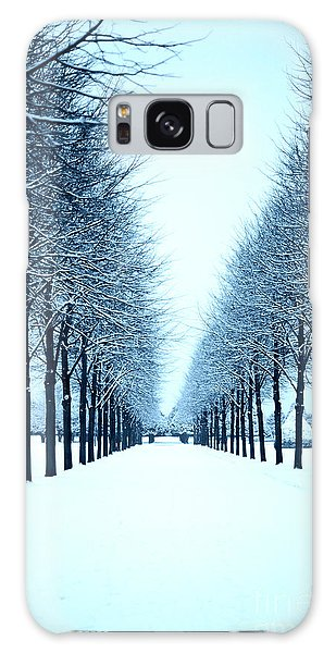 Tree Avenue In Snow Galaxy Case by Lana Enderle