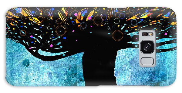 Tree Of Life Blue And Yellow Galaxy Case by Ann Powell