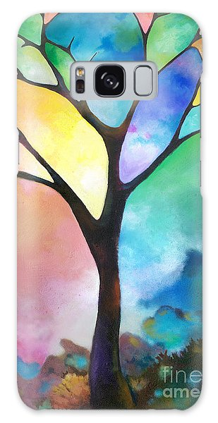 Original Art Abstract Art Acrylic Painting Tree Of Light By Sally Trace Fine Art Galaxy Case
