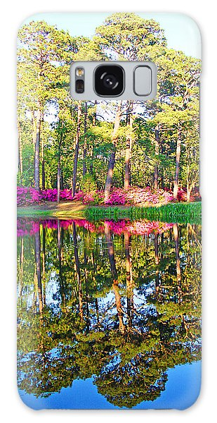 Tree Reflections And Pink Flowers By The Blue Water By Jan Marvin Studios Galaxy Case