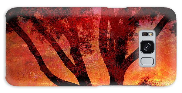 Tree Silhouette In Sunset Abstraction Galaxy Case