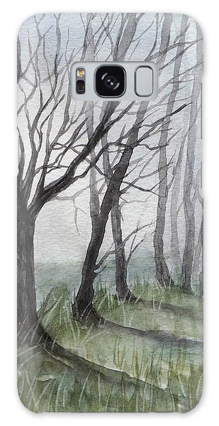 Trees In Fog Galaxy Case by Rebecca Davis