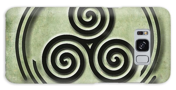 Triple Spiral Black And Green Celtic Art Galaxy Case