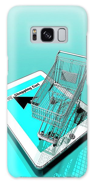 Online Shopping Cart Galaxy Case - Trolley And Digital Tablet by Victor Habbick Visions
