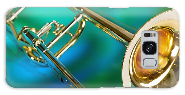 Trombone Galaxy S8 Case - Trombone Against Green And Blue In Color 3204.02 by M K  Miller