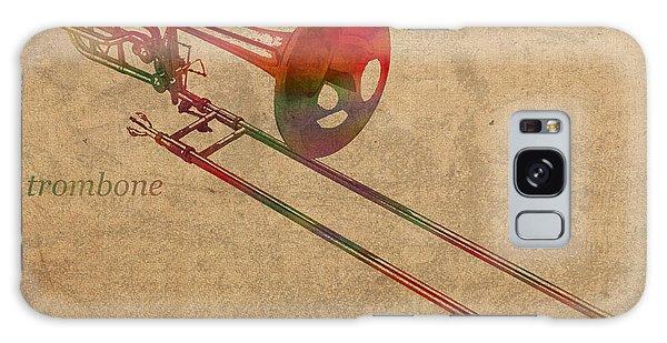 Trombone Galaxy Case - Trombone Brass Instrument Watercolor Portrait On Worn Canvas by Design Turnpike