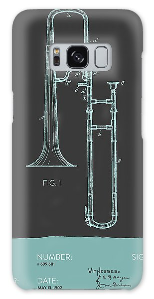 Trombone Galaxy Case - Trombone Patent From 1902 - Modern Gray Blue by Aged Pixel