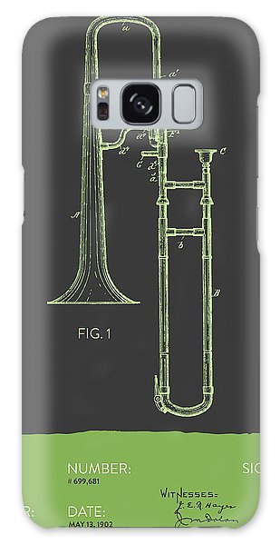 Trombone Galaxy S8 Case - Trombone Patent From 1902 - Modern Gray Green by Aged Pixel