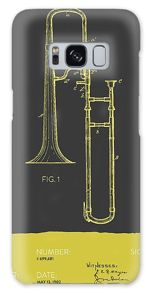 Trombone Galaxy S8 Case - Trombone Patent From 1902 - Modern Gray Yellow by Aged Pixel