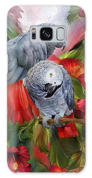 Hibiscus Galaxy Case - Tropic Spirits - African Greys by Carol Cavalaris