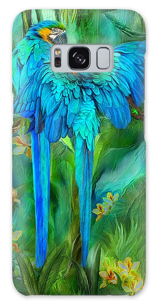 Tropic Spirits - Gold And Blue Macaws Galaxy Case