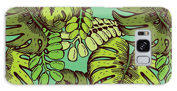 Foliage Galaxy Case - Tropical Leaves Pattern by Tom And Kwikki