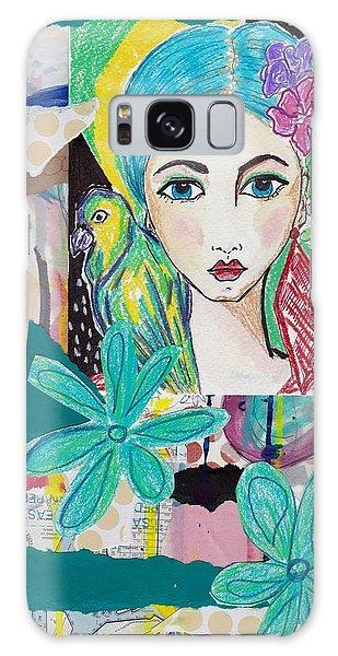 Tropical Parrot Girl Galaxy Case