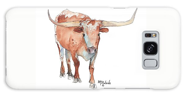 Square Walking Tall Texas Longhorn Watercolor Painting By Kmcelwaine Galaxy Case by Kathleen McElwaine