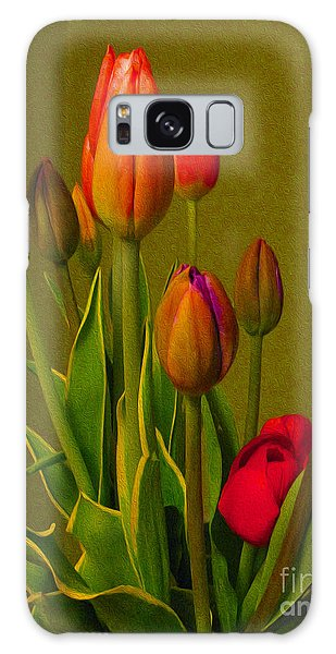 Tulips Against Green Galaxy Case