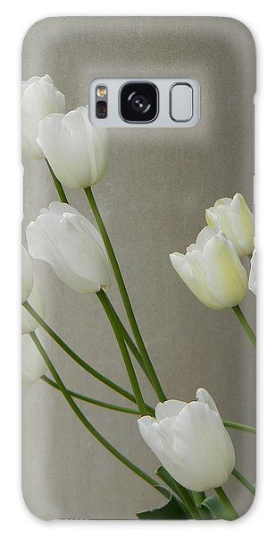 Tulips Against Pillar Galaxy Case by Jean Goodwin Brooks